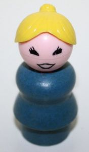 I miss the old style wooden and plastic head-ed Little People of my childhood.