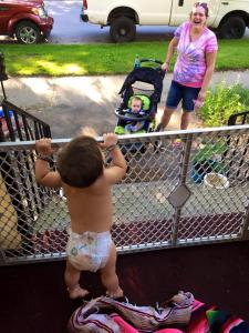 this is how Maisie meets new friends- she calls out to the moms pushing their strollers down the street...