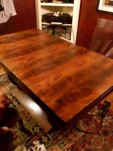 my prized art deco burled walnut library table that I bought in Paris- I love love love this thing so much, but it was hidden under piles of old papers and junk