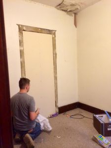 walled off the doorway to the downstairs bathroom about a dozen years ago and we're finally going to cover it with drywall