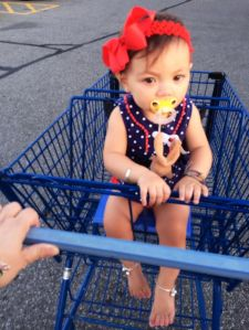 a shopping cart only slightly improves her mood